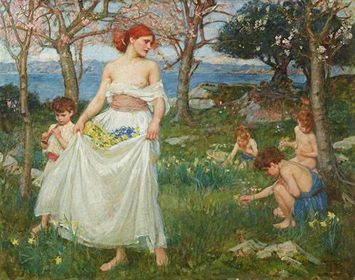 tableaux-de-personnages - Tableau -Le Champ Du Printemps- - Waterhouse, John William