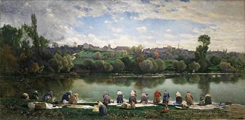 tableaux-de-paysages - Tableau -Lavanderas De La Varenne (Francia)- - Rico y Ortega, Martin