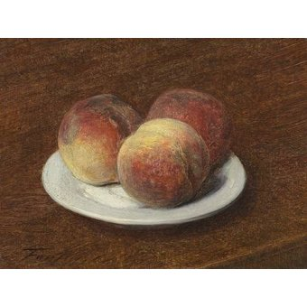 Tableaux nature morte - Tableau -Three Peaches on a Plate, 1868- - Fantin Latour, Henri