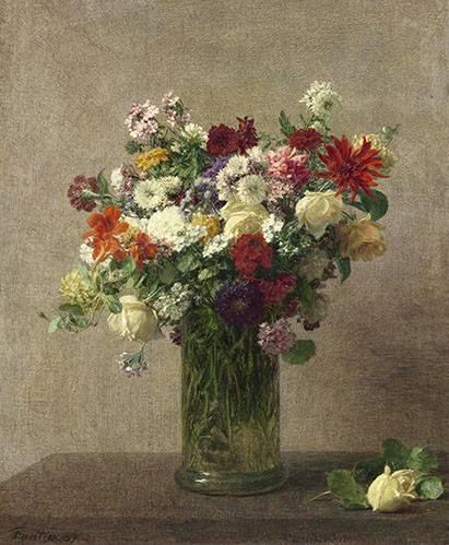 tableaux-de-fleurs - Tableau -Flores en un jarron- - Fantin Latour, Henri