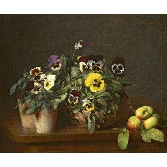 Tableaux de Fleurs - Tableau -Still Life with Pansies- - Fantin Latour, Henri