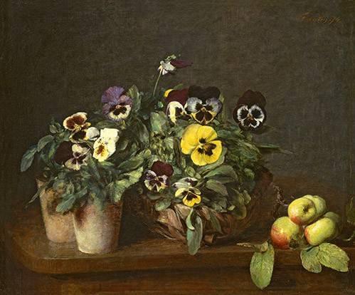 tableaux-de-fleurs - Tableau -Still Life with Pansies- - Fantin Latour, Henri