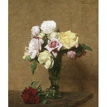 Tableaux de Fleurs - Tableau -Still Life with Roses in a Fluted Vase- - Fantin Latour, Henri
