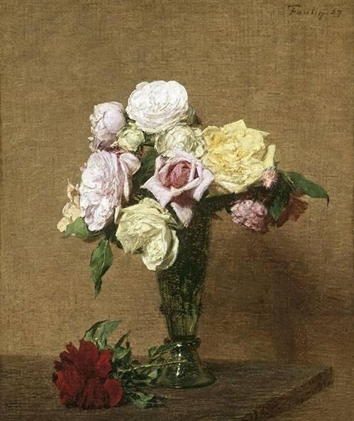 tableaux-de-fleurs - Tableau -Still Life with Roses in a Fluted Vase- - Fantin Latour, Henri