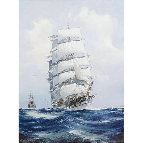 Tableau -The square-rigged wool clipper under full sail-