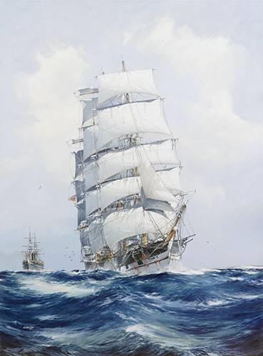 tableaux-de-paysages-marins - Tableau -The square-rigged wool clipper under full sail- - Spurlng, J.