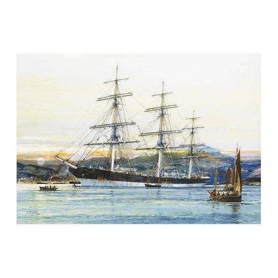 pinturas de paisagens marinhas - Quadro -The square-rigged Australian clipper -Old Kensington- lying on