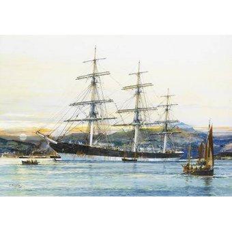 Tableaux de paysages marins - Tableau -The square-rigged Australian clipper -Old Kensington- lying on - Spurlng, J.