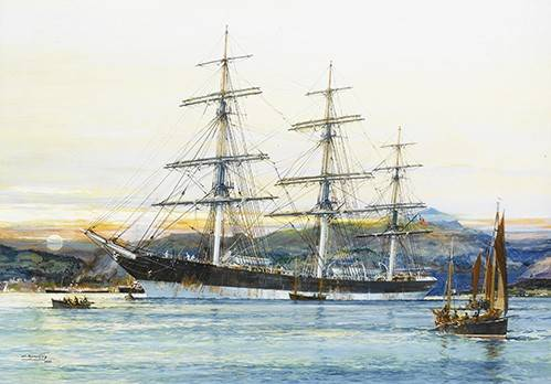 tableaux-de-paysages-marins - Tableau -The square-rigged Australian clipper -Old Kensington- lying on - Spurlng, J.