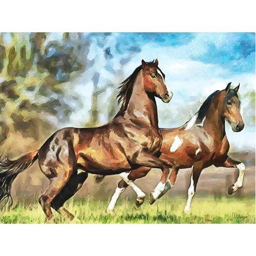 pinturas modernas - Quadro -Moderno CM10537- (caballos)