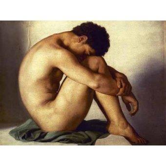Tableaux de Nus - Tableau -Estudio de un joven desnudo- - Flandrin, Hippolyte