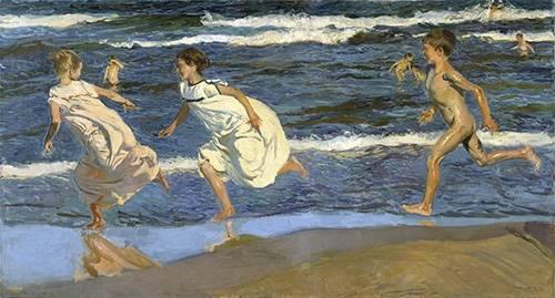 tableaux-de-personnages - Tableau -Courir sur la plage- - Sorolla, Joaquin