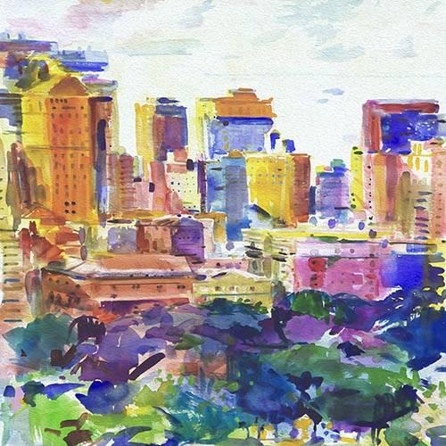tableaux-abstraits - Tableau -Les Villes (I)- - Tapissan, James