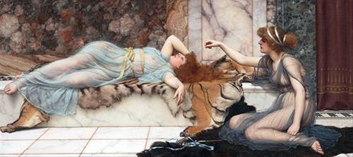 tableaux-de-personnages - Tableau -Mischief and Repose- - Godward, John William