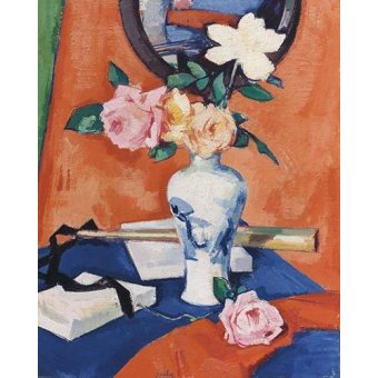 Tableaux de Fleurs - Tableau -Roses in a vase against an orange background- - Peploe, Samuel