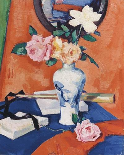 tableaux-de-fleurs - Tableau -Roses in a vase against an orange background- - Peploe, Samuel