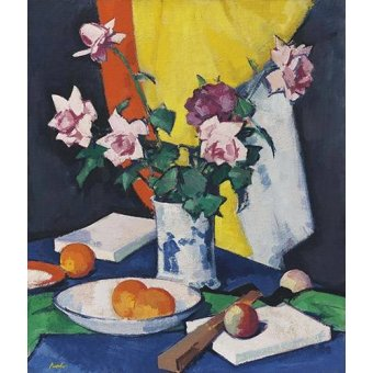 Tableaux nature morte - Tableau -Red and pink roses, oranges and fan- - Peplow, Samuel