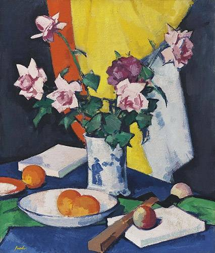 tableaux-nature-morte - Tableau -Red and pink roses, oranges and fan- - Peploe, Samuel