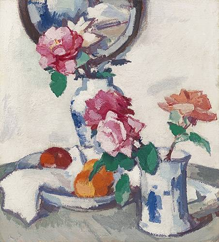 tableaux-nature-morte - Tableau -Still life with roses and fruit- - Peploe, Samuel