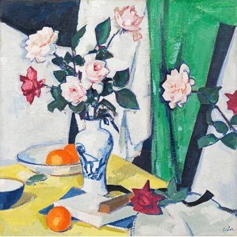Tableaux nature morte - Tableau -Pink and red roses in a Chinese vase- - Peplow, Samuel