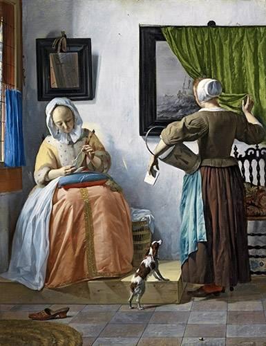 tableaux-de-personnages - Tableau -Woman reading a letter- - Metsu, Gabriël