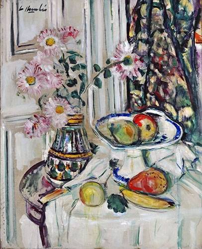 tableaux-nature-morte - Tableau -Still Life With Daisies and Fruit- - Hunter, G.L.