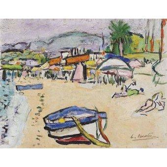 Tableaux de paysages marins - Tableau -On the beach, South of France- - Hunter, G.L.