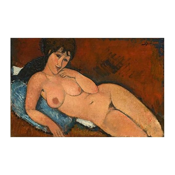 Quadro -Nude on a Blue Cushion-