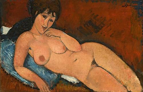 tableaux-de-personnages - Tableau -Nude on a Blue Cushion- - Modigliani, Amedeo