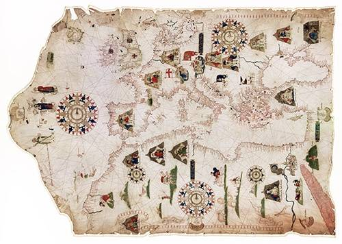 tableaux-cartes-du-monde-dessins - Tableau -Mateus Prunes, 1559 - Chart of the Mediterranean, Black Sea, and the coasts- - Anciennes cartes