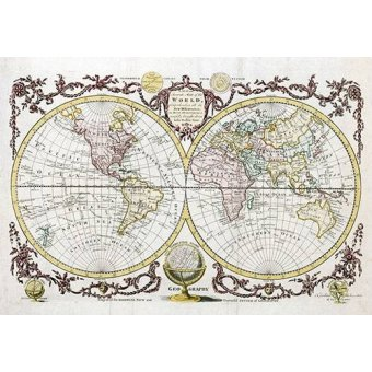 Tableaux cartes du monde, dessins - Tableau -Baldwyn, 1782 - Map of the World- - Anciennes cartes