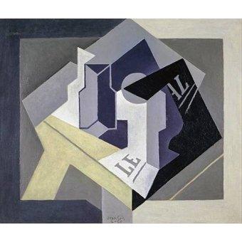 Tableaux abstraits - Tableau -Fruit bowl and newspaper- - Gris, Juan