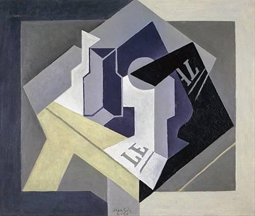 tableaux-abstraits - Tableau -Fruit bowl and newspaper- - Gris, Juan