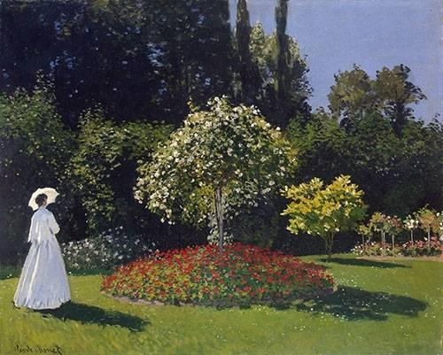tableaux-de-paysages - Tableau -Dame en blanc au jardin - - Monet, Claude