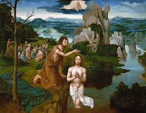 tableaux-religieuses - Tableau -Baptism of Christ_Bautismo de Cristo- - Patinir, Joachim
