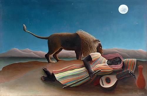 tableaux-de-paysages - Tableau -La Bohémienne endormie- - Rousseau, Henri