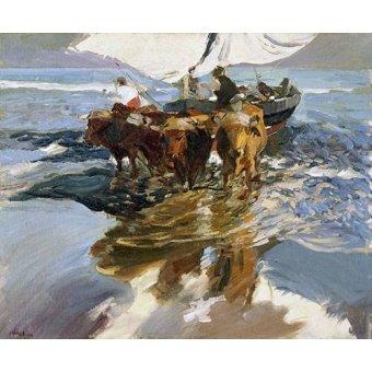 Tableaux de paysages marins - Tableau -Retour de la pêche, plage de Valence- - Sorolla, Joaquin