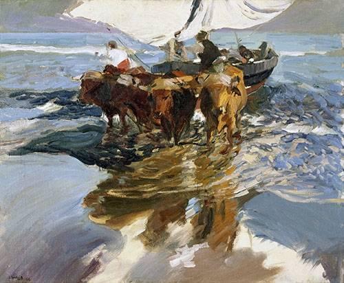 tableaux-de-paysages-marins - Tableau -Retour de la pêche, plage de Valence- - Sorolla, Joaquin