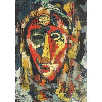 Tableaux de Personnages - Tableau -The green eye mask, head, 1914- - Souza-Cardoso, Amadeo de