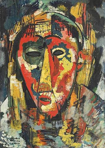tableaux-abstraits - Tableau -The green eye mask, head, 1914- - Souza-Cardoso, Amadeo de