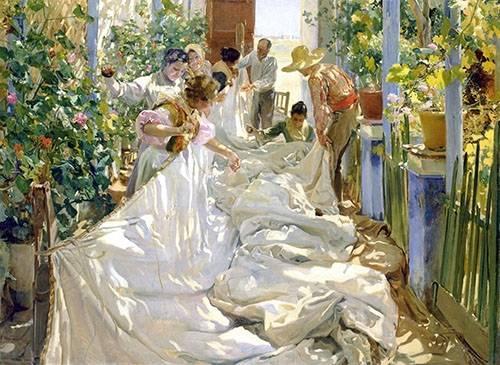 tableaux-de-personnages - Tableau -Cousant la voile, 1896- - Sorolla, Joaquin