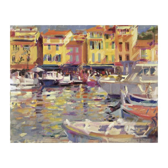 Tableau -Harbour at Cassis (oil on canvas) -