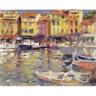 Tableaux de paysages marins - Tableau -Harbour at Cassis (oil on canvas) - - Graham, Peter
