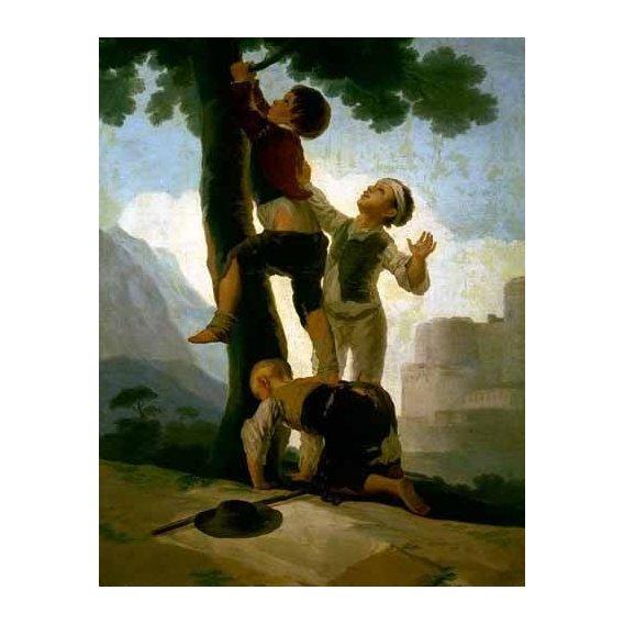pinturas do retrato - Quadro -Niños trepando a un árbol-