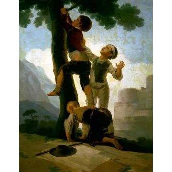 Tableaux de Personnages - Tableau -Niños trepando a un árbol- - Goya y Lucientes, Francisco de