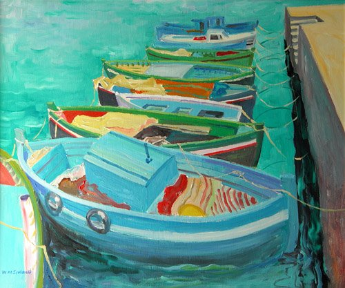 tableaux-modernes - Tableau -Blue Boats, 2003- - Ireland, William