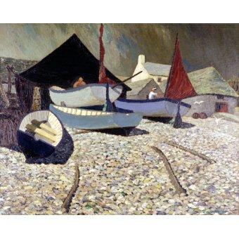 Tableaux de paysages marins - Tableau -Cadgwith, the Lizard (oil on canvas)- - Hains, Eric