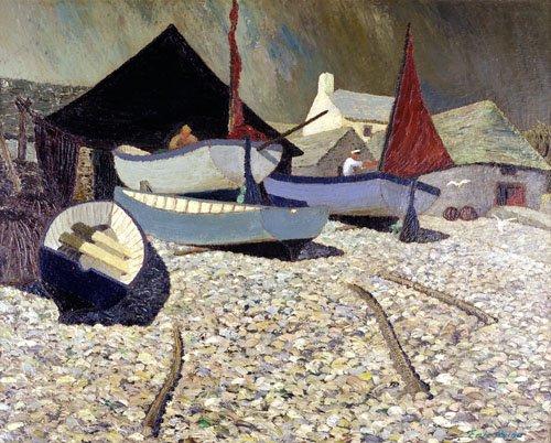 tableaux-pour-salon - Tableau -Cadgwith, the Lizard (oil on canvas)- - Hains, Eric