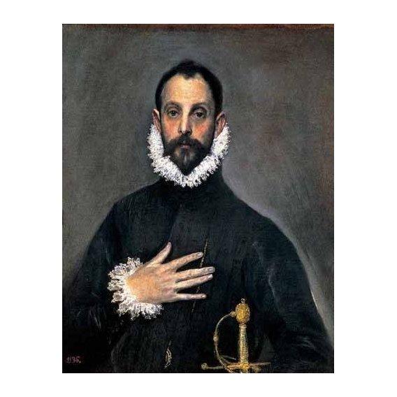 pinturas do retrato - Quadro -El caballero de la mano en el pecho(1577-84)-