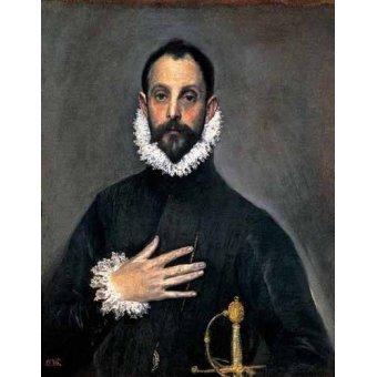 Tableaux de Personnages - Tableau -El caballero de la mano en el pecho(1577-84)- - Greco, El (D. Theotocopoulos)